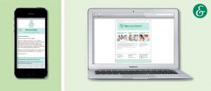 Laptop und Smartphone mit der Darstellung der Website Arztpraxis Schoch