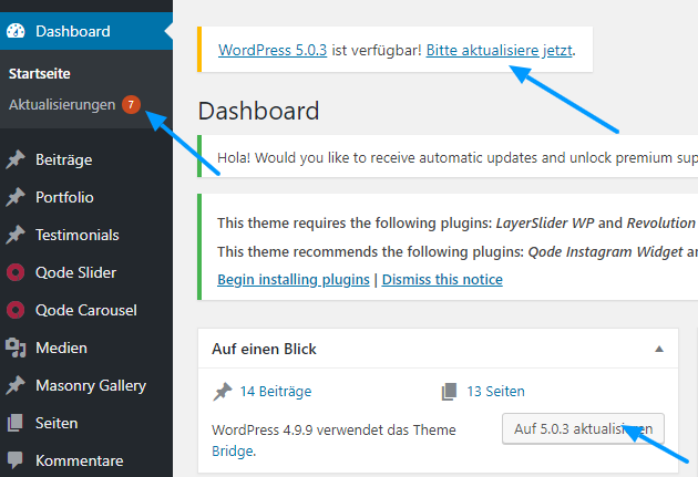 Bild vom frank & frech WordPress Dashboard