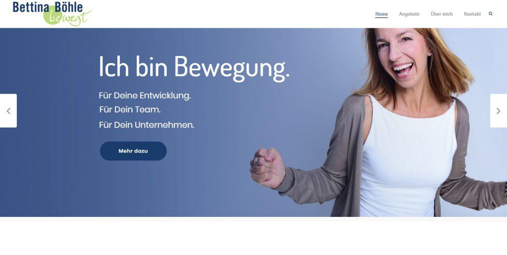 Bild der Website von bettina Böhle bewegt