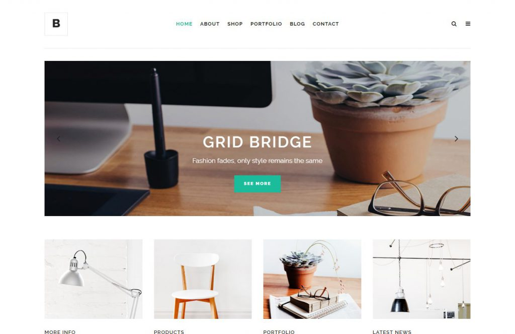 Bild von einer Theme Bridge Wordpress Demo Site (In Grid Corporate Site)