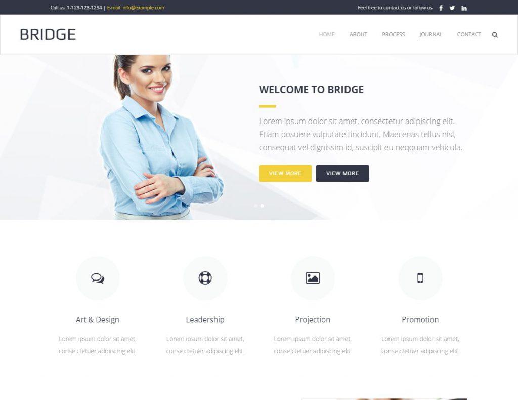 Bild einer klassischen Firmenwebsite von Bridge