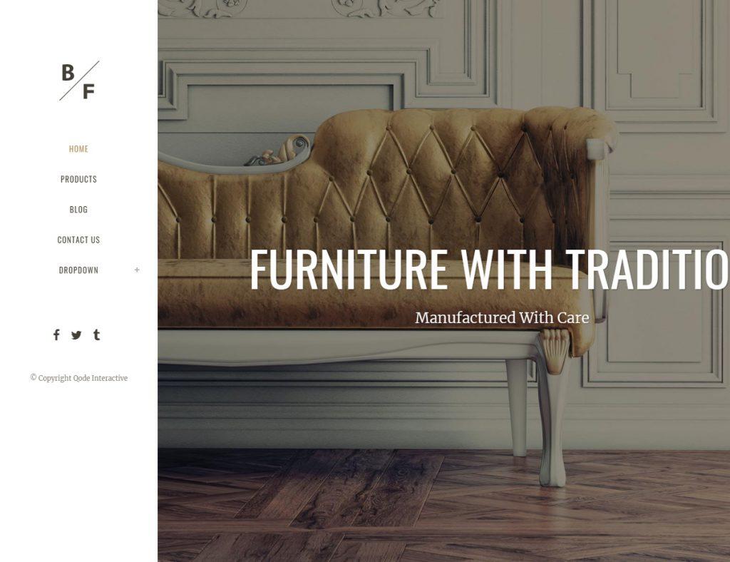 Bild des WordPress Themes Bridge in der Version für Möbel