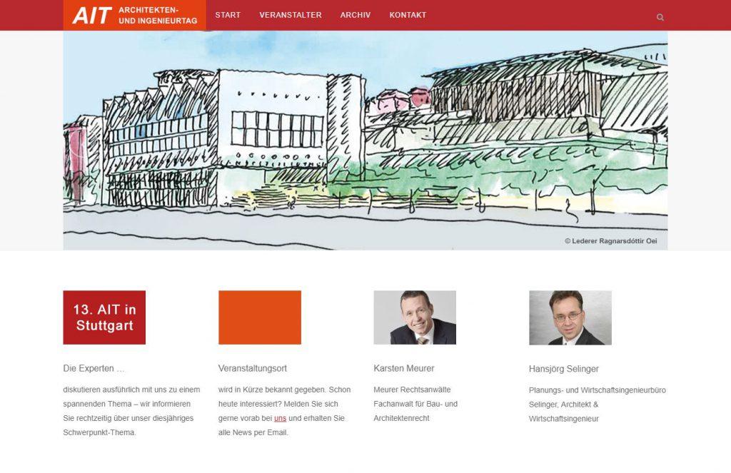 Bild der Website des Architekten- und Ingenieurtag Stuttgart mit Möglichkeit zur Veranstaltungsbuchung