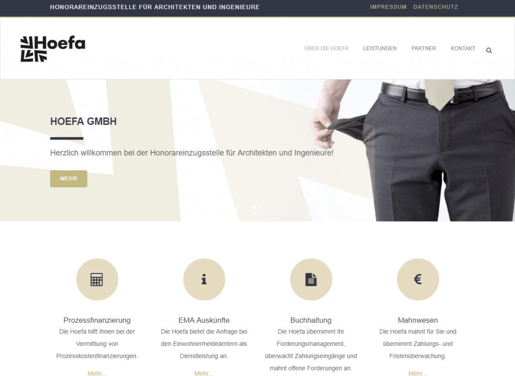 Bild der Wordpress Website der Hoefa GmbH Stuttgart