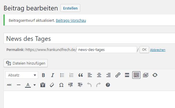 Bild von sprechenden URLs in WordPress
