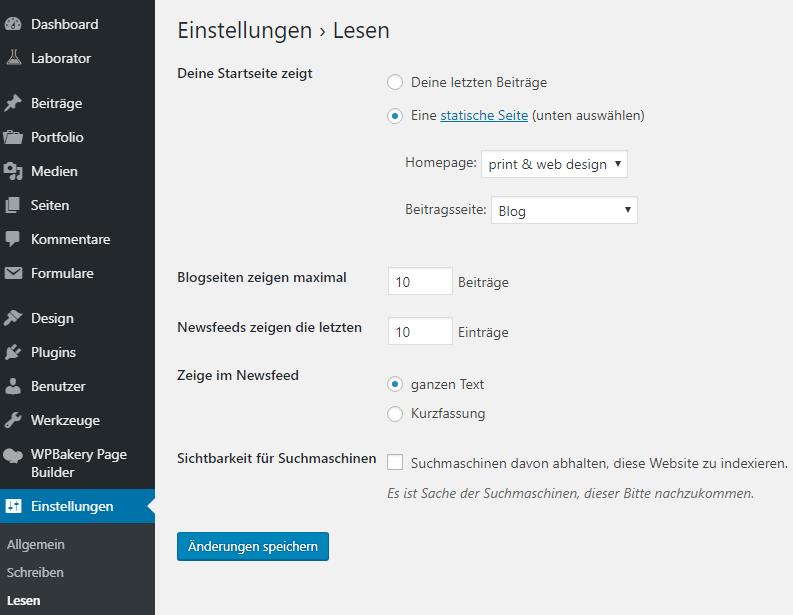 Bild von WordPress Einstellungen zur Sichtbarkeit