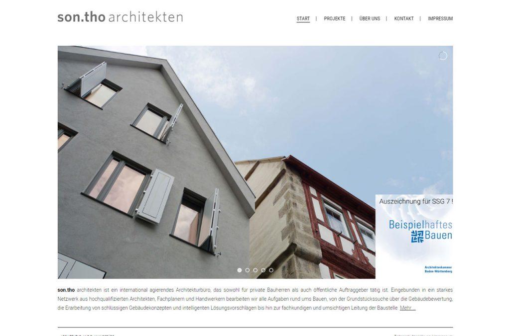 Die Website von sontho architekten Besigheim