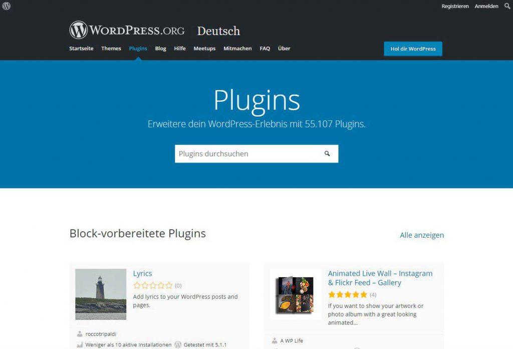 Bild der WordPress Bibliothek für Plugins