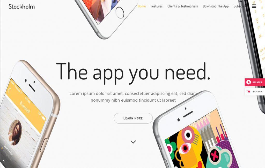 Beispiel WordPress Theme für Startup Websites: Theme Stockholm, App