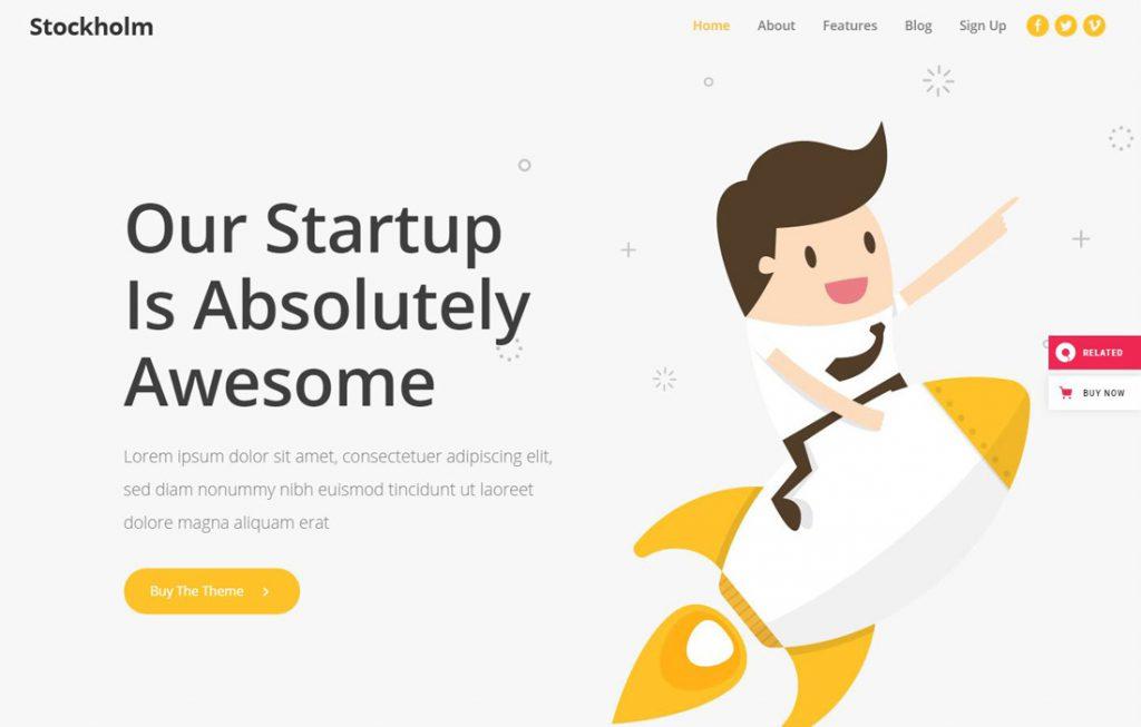 Beispiel WordPress Theme für Startup Websites: Theme Stockholm, Startup