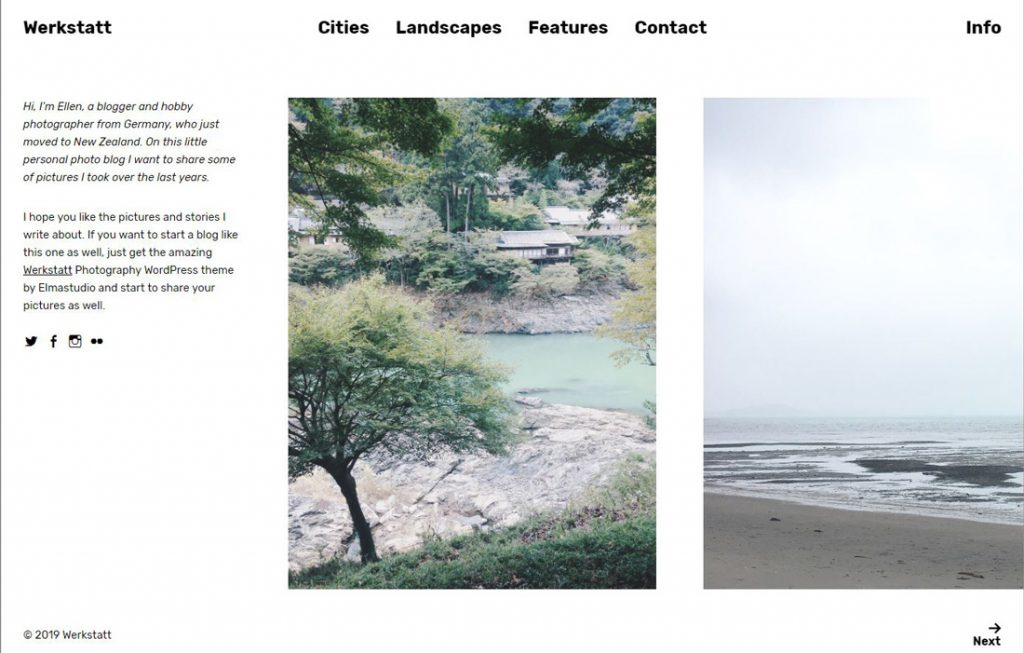 Beispiel WordPress Theme für Startup Websites: Theme Werkstatt, Elmastudio, Blog