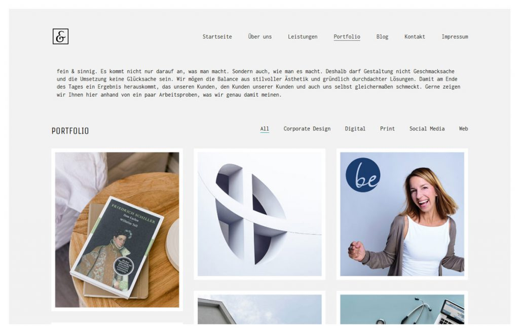 Bild der frank&frech Website mit Theme Kalium